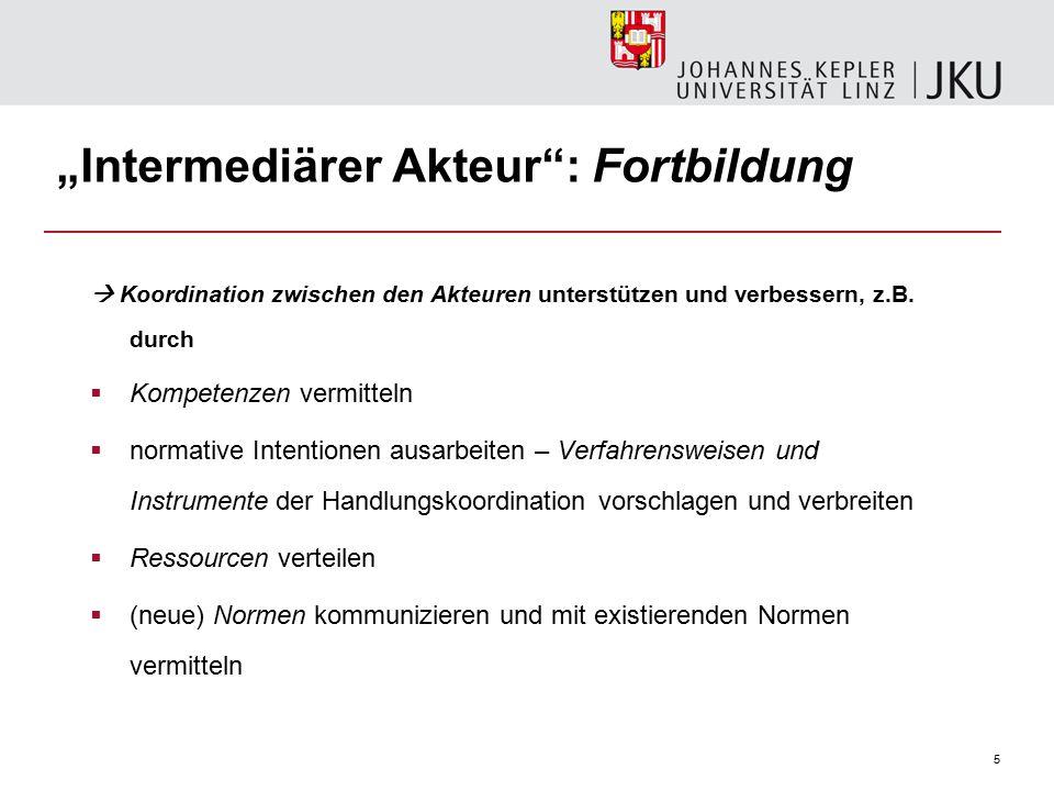 """5 """"Intermediärer Akteur : Fortbildung  Koordination zwischen den Akteuren unterstützen und verbessern, z.B."""