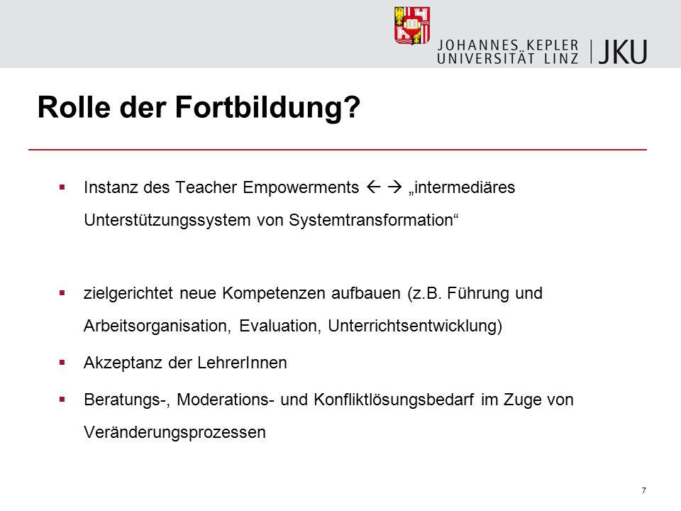 7 Rolle der Fortbildung.