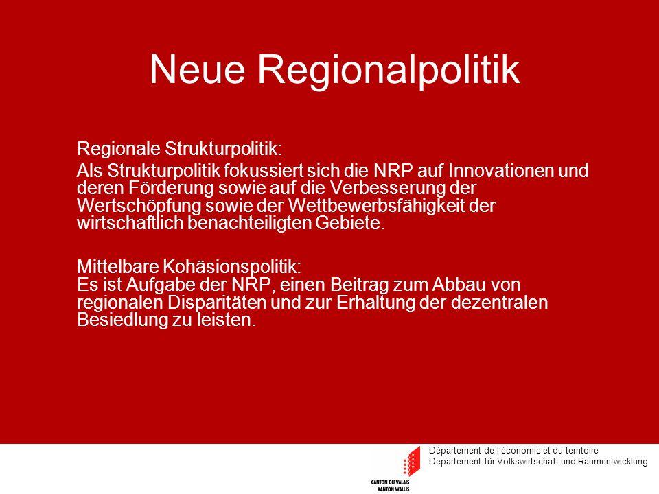 Département de l'économie et du territoire Departement für Volkswirtschaft und Raumentwicklung Neue Regionalpolitik Regionale Strukturpolitik: Als Str