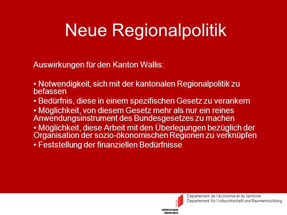 Département de l'économie et du territoire Departement für Volkswirtschaft und Raumentwicklung Neue Regionalpolitik Auswirkungen für den Kanton Wallis