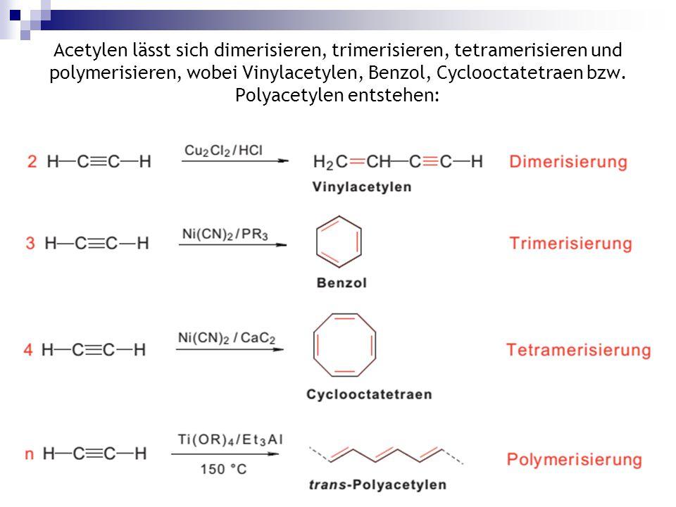 Prof. Ivo C. Ivanov10 Acetylen lässt sich dimerisieren, trimerisieren, tetramerisieren und polymerisieren, wobei Vinylacetylen, Benzol, Cyclooctatetra