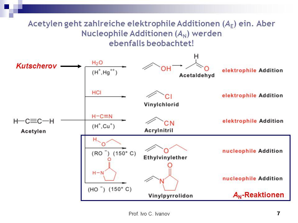 Prof. Ivo C. Ivanov7 Acetylen geht zahlreiche elektrophile Additionen (A E ) ein. Aber Nucleophile Additionen (A N ) werden ebenfalls beobachtet! A N