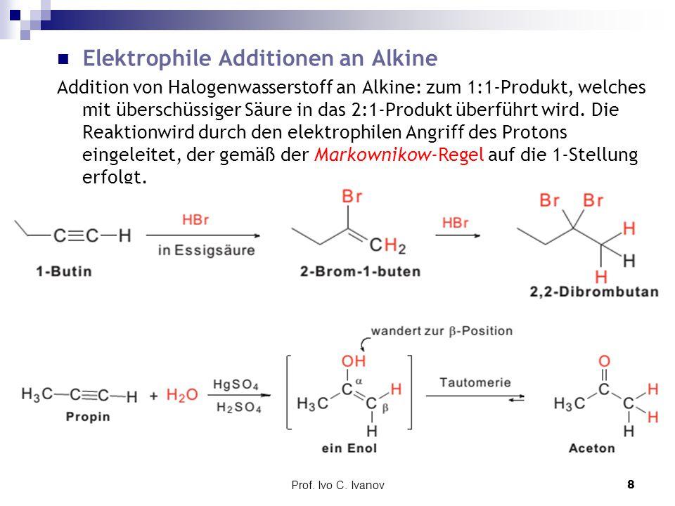 Prof. Ivo C. Ivanov8 Elektrophile Additionen an Alkine Addition von Halogenwasserstoff an Alkine: zum 1:1-Produkt, welches mit überschüssiger Säure in