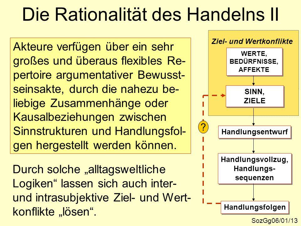 Die Rationalität des Handelns II SozGg06/01/13 Ziel- und Wertkonflikte WERTE, BEDÜRFNISSE, AFFEKTE WERTE, BEDÜRFNISSE, AFFEKTE SINN, ZIELE SINN, ZIELE