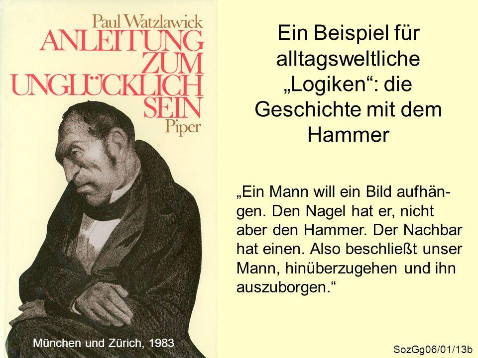 """Ein Beispiel für alltagsweltliche """"Logiken"""": die Geschichte mit dem Hammer SozGg06/01/13b München und Zürich, 1983 """"Ein Mann will ein Bild aufhän- gen"""