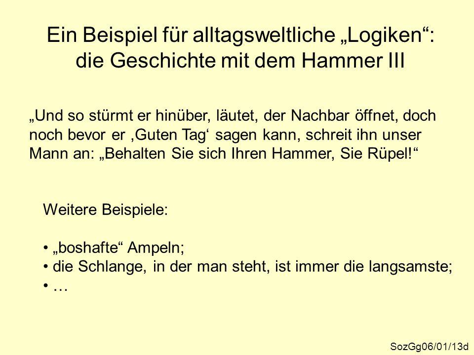 """Ein Beispiel für alltagsweltliche """"Logiken"""": die Geschichte mit dem Hammer III SozGg06/01/13d """"Und so stürmt er hinüber, läutet, der Nachbar öffnet, d"""