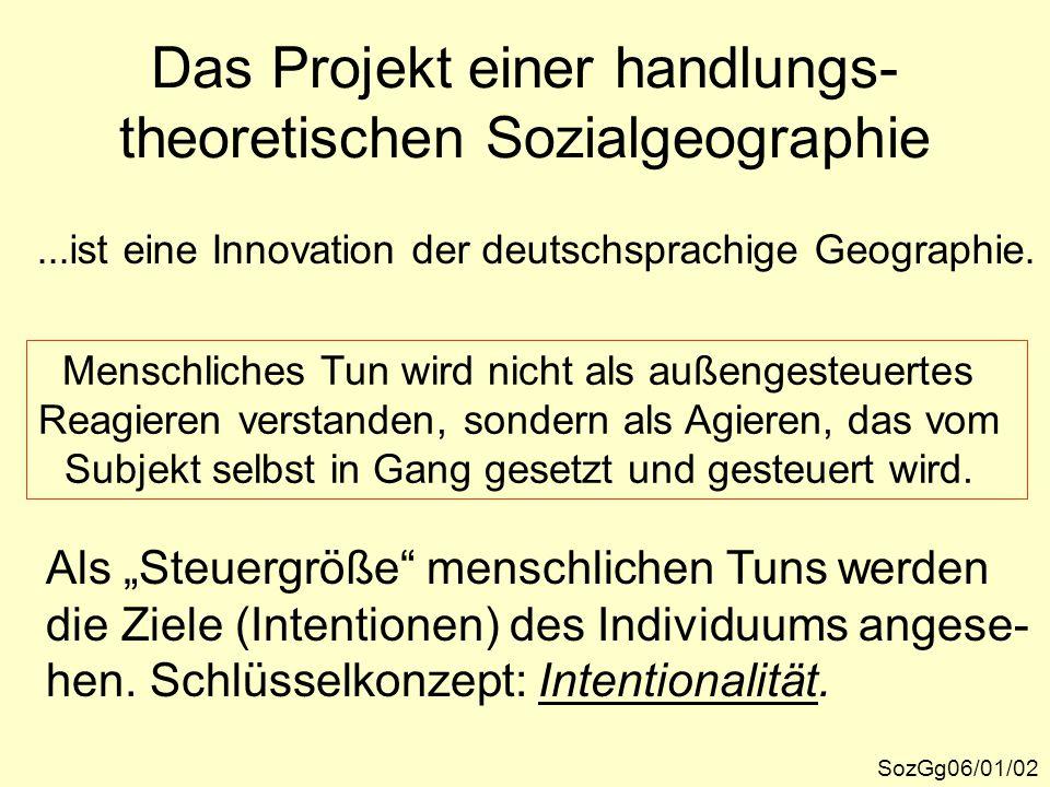 Das Projekt einer handlungs- theoretischen Sozialgeographie SozGg06/01/02...ist eine Innovation der deutschsprachige Geographie. Menschliches Tun wird