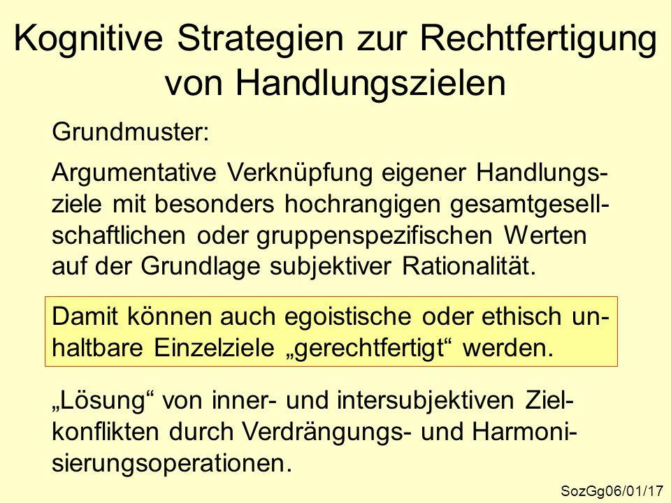 Kognitive Strategien zur Rechtfertigung von Handlungszielen SozGg06/01/17 Grundmuster: Argumentative Verknüpfung eigener Handlungs- ziele mit besonder