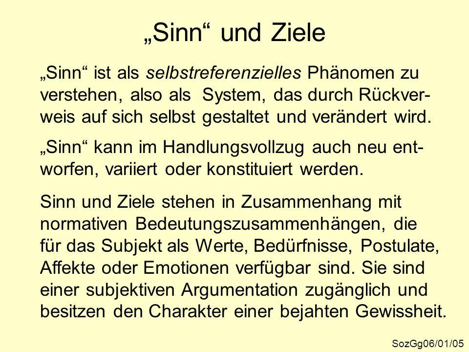 """""""Sinn"""" und Ziele SozGg06/01/05 """"Sinn"""" ist als selbstreferenzielles Phänomen zu verstehen, also als System, das durch Rückver- weis auf sich selbst ges"""