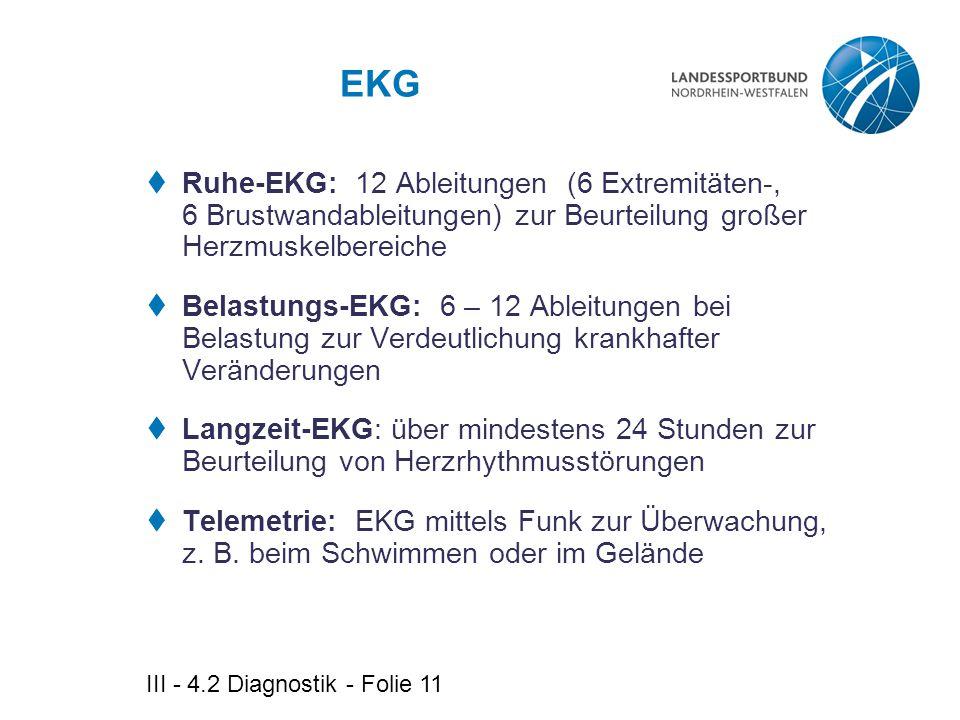 III - 4.2 Diagnostik - Folie 11 EKG  Ruhe-EKG: 12 Ableitungen (6 Extremitäten-, 6 Brustwandableitungen) zur Beurteilung großer Herzmuskelbereiche  B