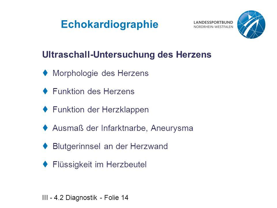 III - 4.2 Diagnostik - Folie 14 Echokardiographie  Morphologie des Herzens  Funktion des Herzens  Funktion der Herzklappen  Ausmaß der Infarktnarb