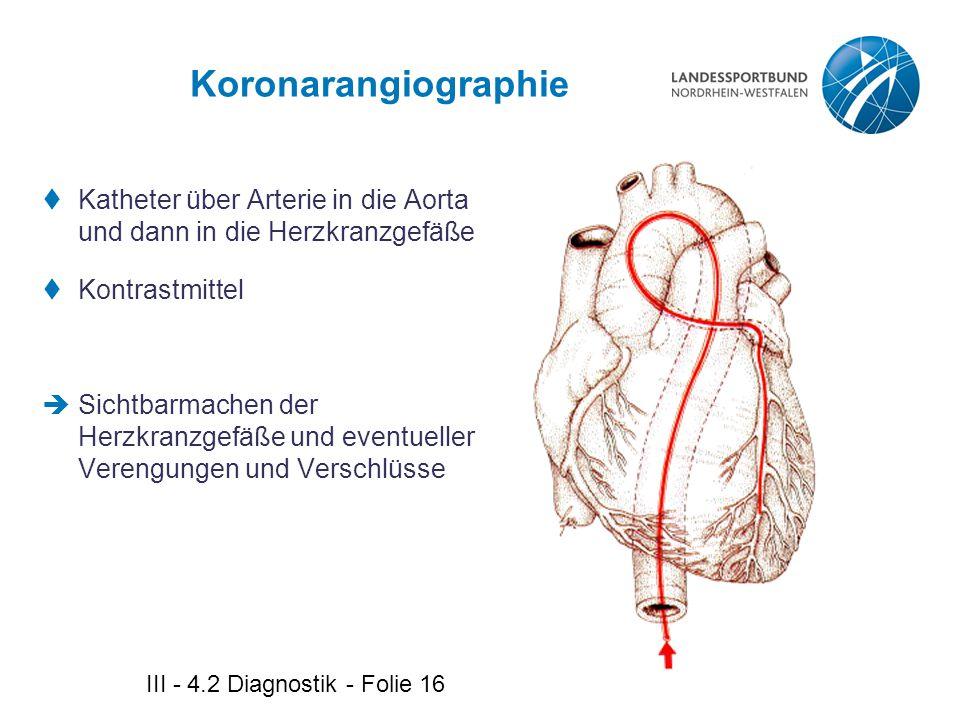 III - 4.2 Diagnostik - Folie 16 Koronarangiographie  Katheter über Arterie in die Aorta und dann in die Herzkranzgefäße  Kontrastmittel  Sichtbarma