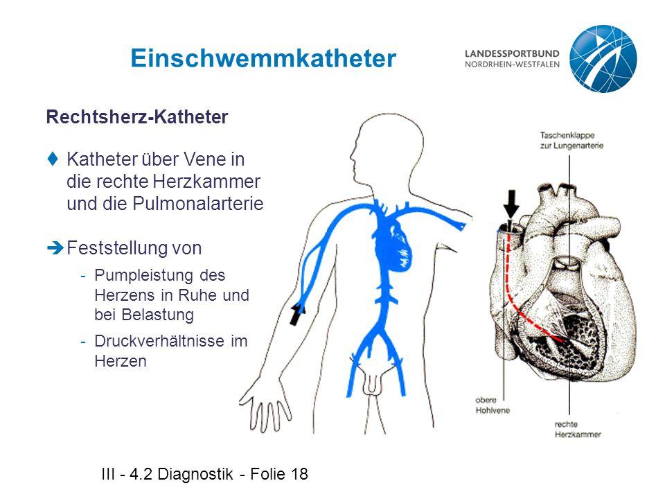 III - 4.2 Diagnostik - Folie 18 Einschwemmkatheter Rechtsherz-Katheter  Katheter über Vene in die rechte Herzkammer und die Pulmonalarterie  Festste