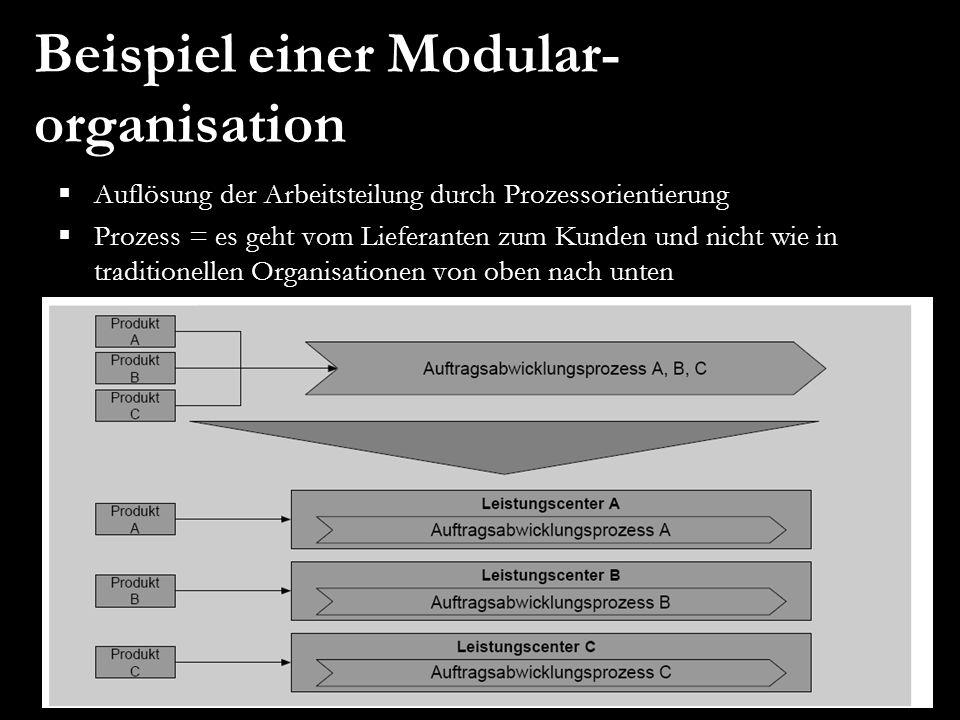 Beispiel einer Modular- organisation  Auflösung der Arbeitsteilung durch Prozessorientierung  Prozess = es geht vom Lieferanten zum Kunden und nicht
