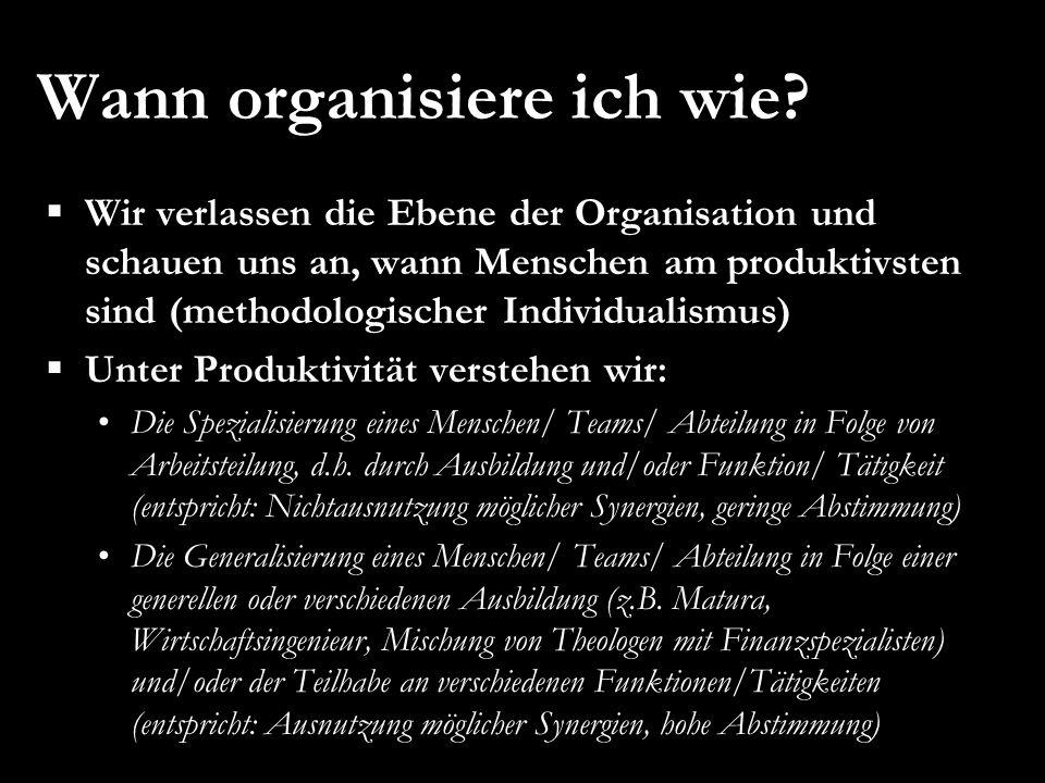 Wann organisiere ich wie?  Wir verlassen die Ebene der Organisation und schauen uns an, wann Menschen am produktivsten sind (methodologischer Individ