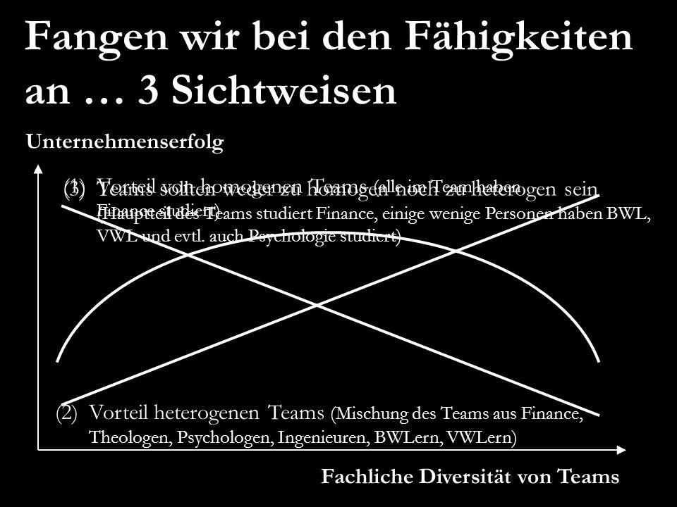 (3)Teams sollten weder zu homogen noch zu heterogen sein (Hauptteil des Teams studiert Finance, einige wenige Personen haben BWL, VWL und evtl. auch P