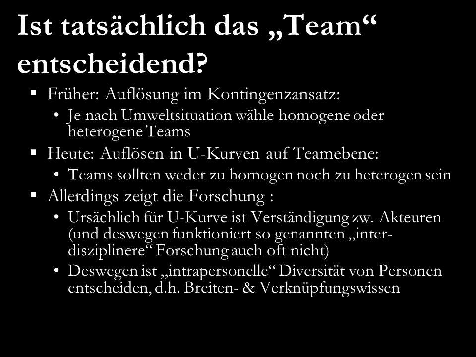  Früher: Auflösung im Kontingenzansatz: Je nach Umweltsituation wähle homogene oder heterogene Teams  Heute: Auflösen in U-Kurven auf Teamebene: Tea