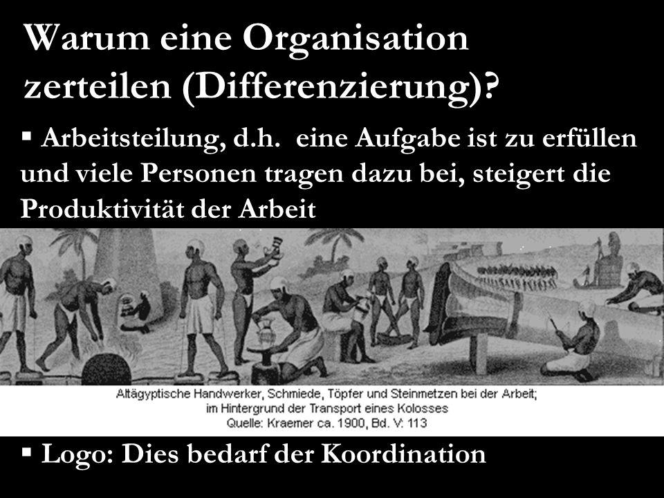 Warum eine Organisation zerteilen (Differenzierung)?  Arbeitsteilung, d.h. eine Aufgabe ist zu erfüllen und viele Personen tragen dazu bei, steigert