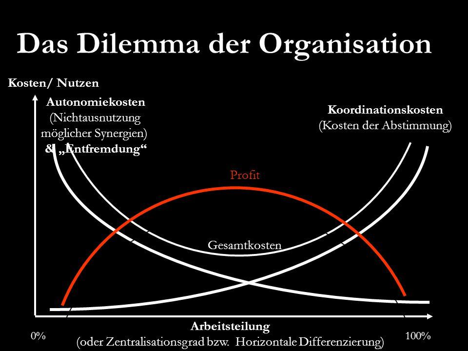 Das Dilemma der Organisation Gesamtkosten Arbeitsteilung (oder Zentralisationsgrad bzw. Horizontale Differenzierung) Autonomiekosten (Nichtausnutzung