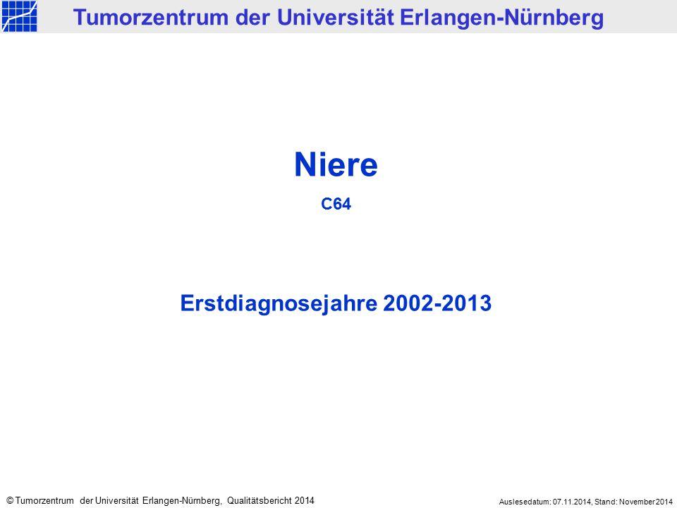 Niere C64 Erstdiagnosejahre 2002-2013 Tumorzentrum der Universität Erlangen-Nürnberg © Tumorzentrum der Universität Erlangen-Nürnberg, Qualitätsberich