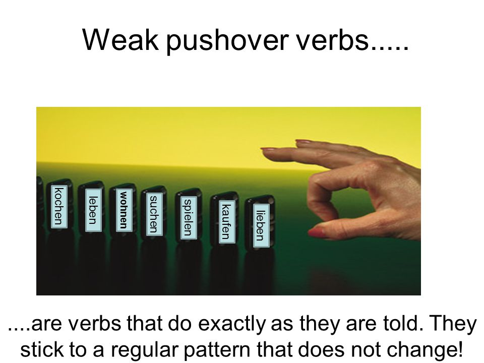 Weak pushover verbs..... lieben kaufen spielen suchen....are verbs that do exactly as they are told. They stick to a regular pattern that does not cha