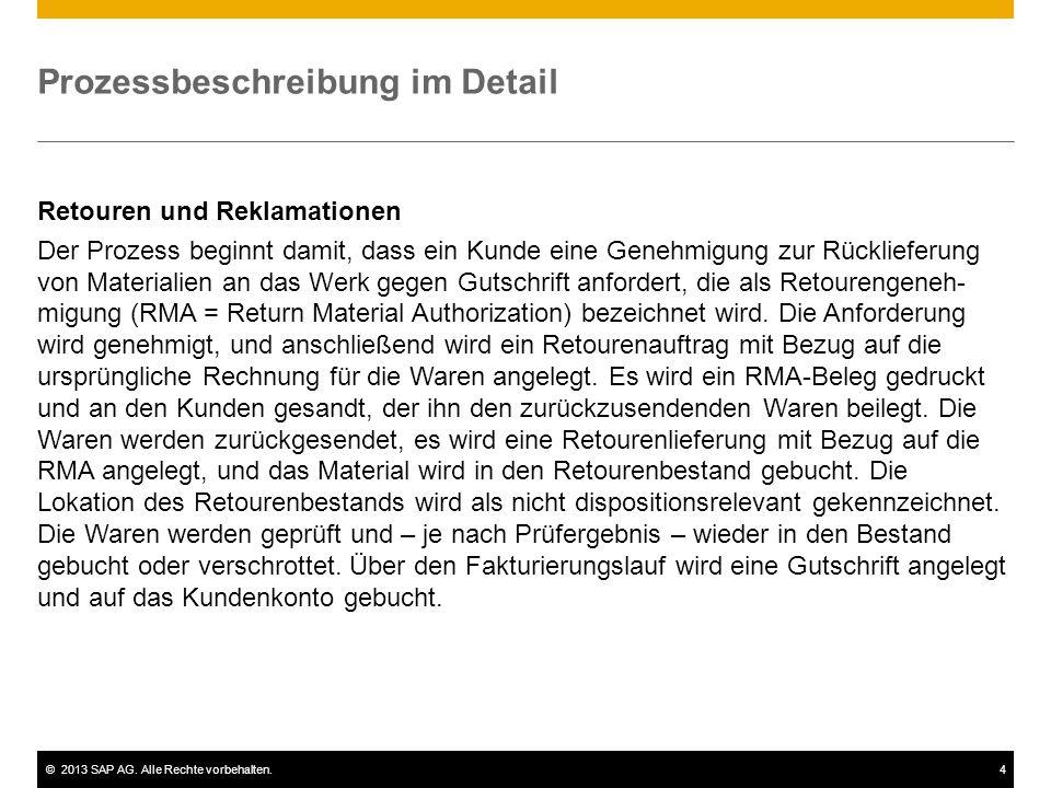 ©2013 SAP AG. Alle Rechte vorbehalten.4 Prozessbeschreibung im Detail Retouren und Reklamationen Der Prozess beginnt damit, dass ein Kunde eine Genehm