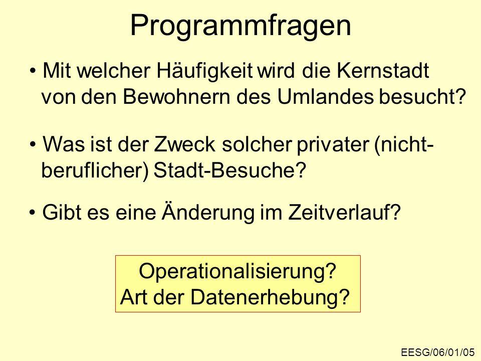 Programmfragen EESG/06/01/05 Mit welcher Häufigkeit wird die Kernstadt von den Bewohnern des Umlandes besucht? Was ist der Zweck solcher privater (nic