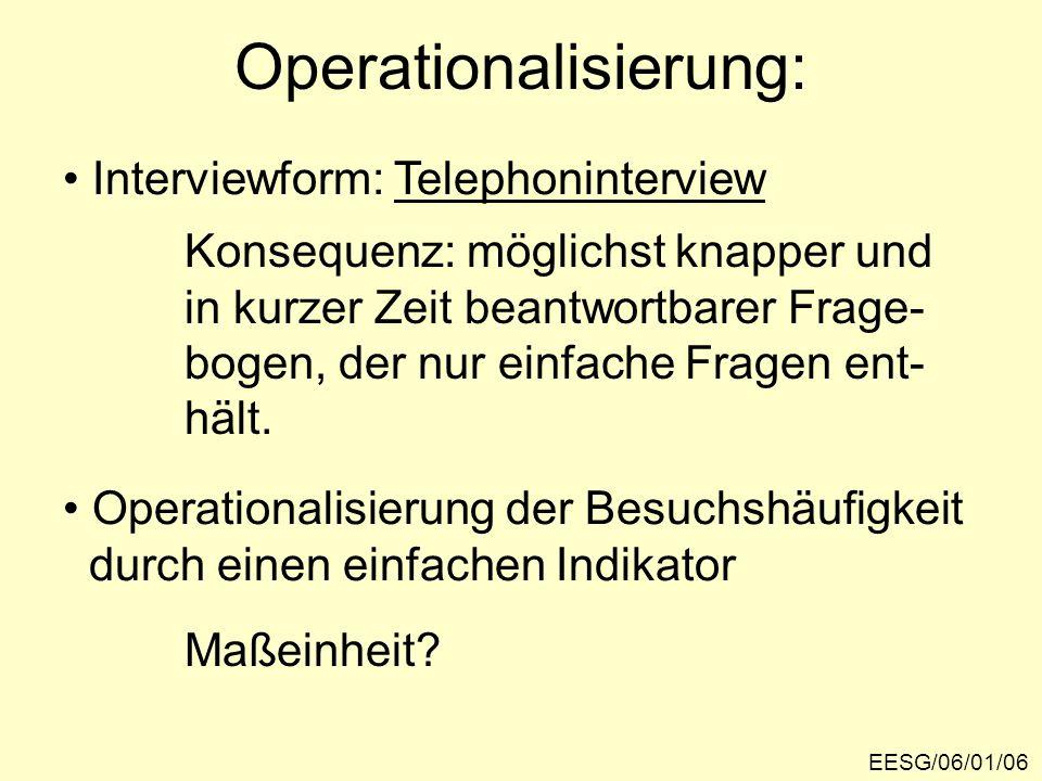 Operationalisierung: EESG/06/01/06 Interviewform: Telephoninterview Konsequenz: möglichst knapper und in kurzer Zeit beantwortbarer Frage- bogen, der