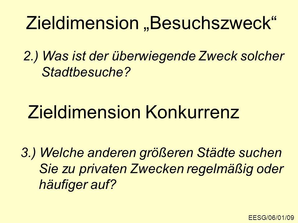 """Zieldimension """"Besuchszweck"""" EESG/06/01/09 2.) Was ist der überwiegende Zweck solcher Stadtbesuche? 3.) Welche anderen größeren Städte suchen Sie zu p"""