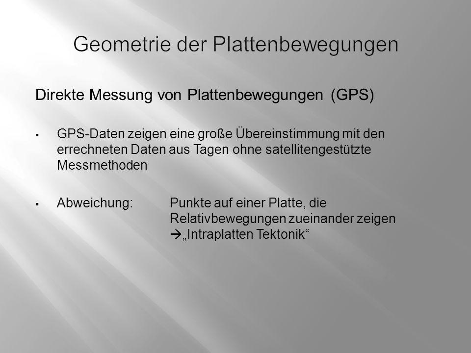 """Direkte Messung von Plattenbewegungen (GPS)  GPS-Daten zeigen eine große Übereinstimmung mit den errechneten Daten aus Tagen ohne satellitengestützte Messmethoden  Abweichung:Punkte auf einer Platte, die Relativbewegungen zueinander zeigen  """"Intraplatten Tektonik"""