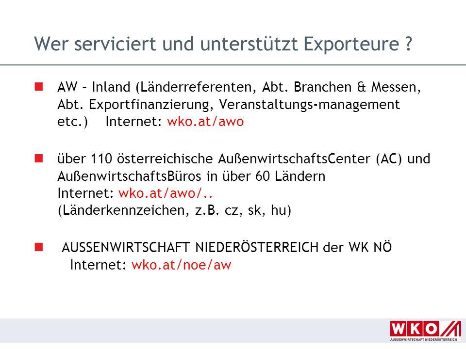 Wer serviciert und unterstützt Exporteure ? AW – Inland (Länderreferenten, Abt. Branchen & Messen, Abt. Exportfinanzierung, Veranstaltungs-management
