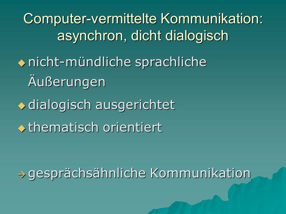 Computer-vermittelte Kommunikation: asynchron, dicht dialogisch  nicht-mündliche sprachliche Äußerungen  dialogisch ausgerichtet  thematisch orientiert  gesprächsähnliche Kommunikation
