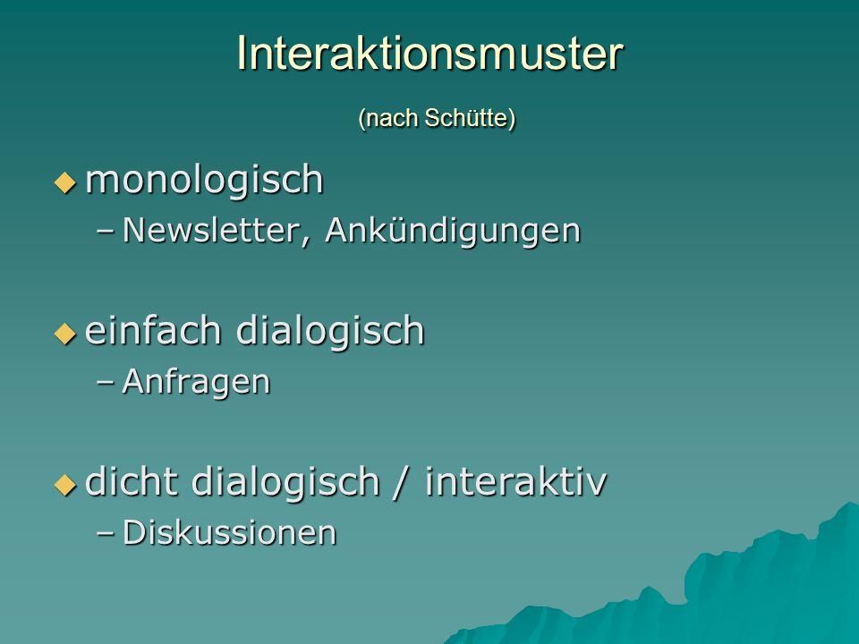 Interaktionsmuster (nach Schütte)  monologisch –Newsletter, Ankündigungen  einfach dialogisch –Anfragen  dicht dialogisch / interaktiv –Diskussionen