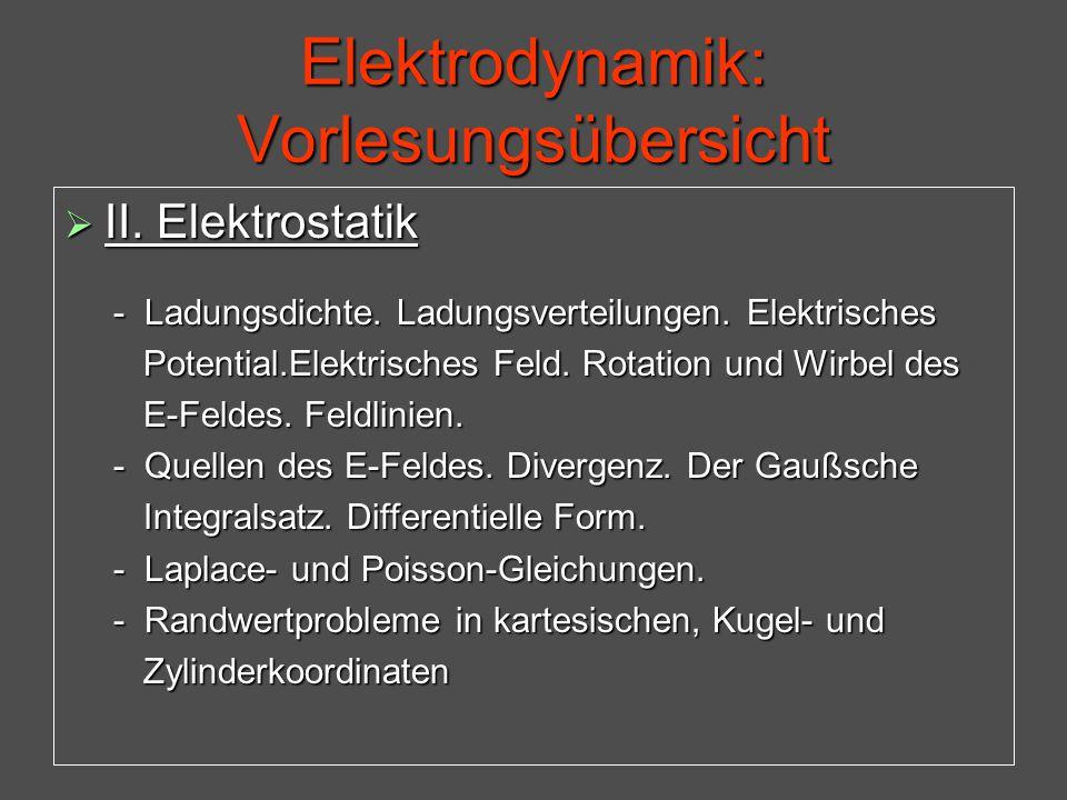 Elektrodynamik: Vorlesungsübersicht  II. Elektrostatik - Ladungsdichte. Ladungsverteilungen. Elektrisches - Ladungsdichte. Ladungsverteilungen. Elekt