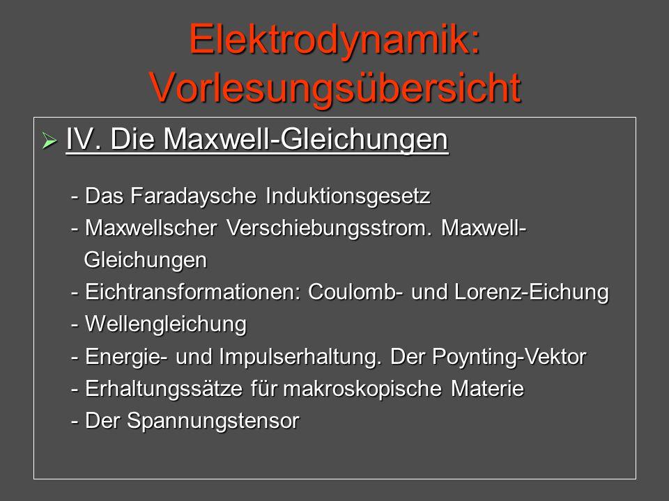 Elektrodynamik: Vorlesungsübersicht  IV. Die Maxwell-Gleichungen - Das Faradaysche Induktionsgesetz - Das Faradaysche Induktionsgesetz - Maxwellscher