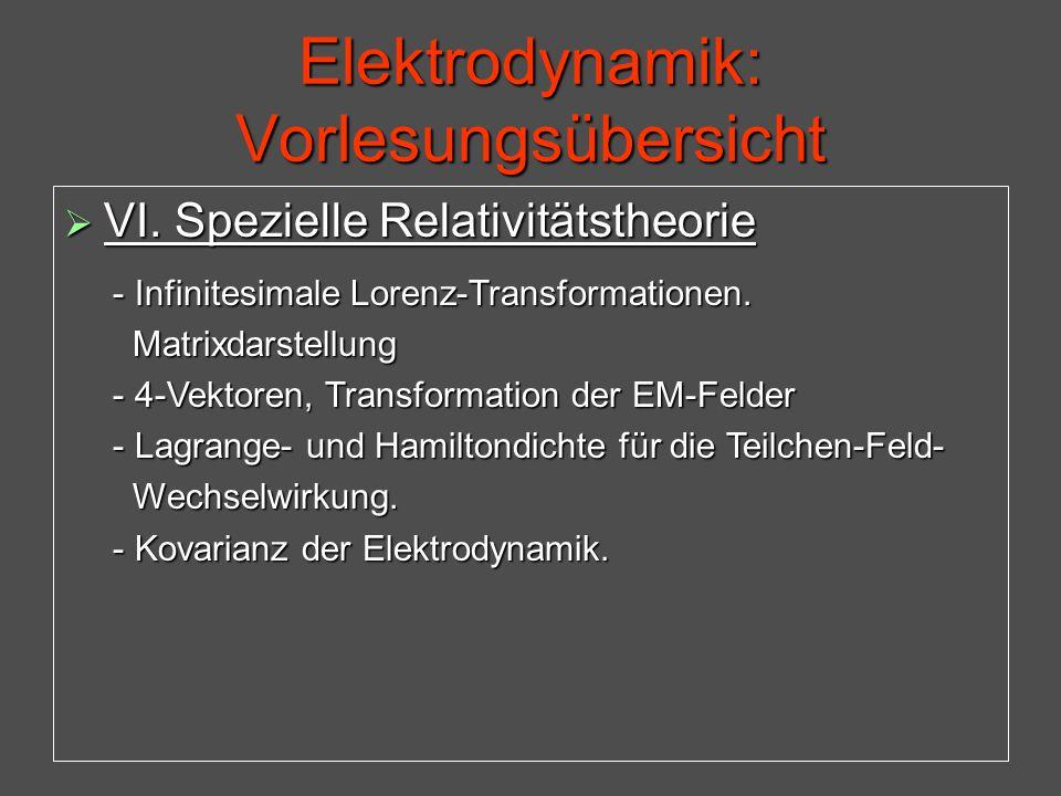 Elektrodynamik: Vorlesungsübersicht  VI. Spezielle Relativitätstheorie - Infinitesimale Lorenz-Transformationen. - Infinitesimale Lorenz-Transformati