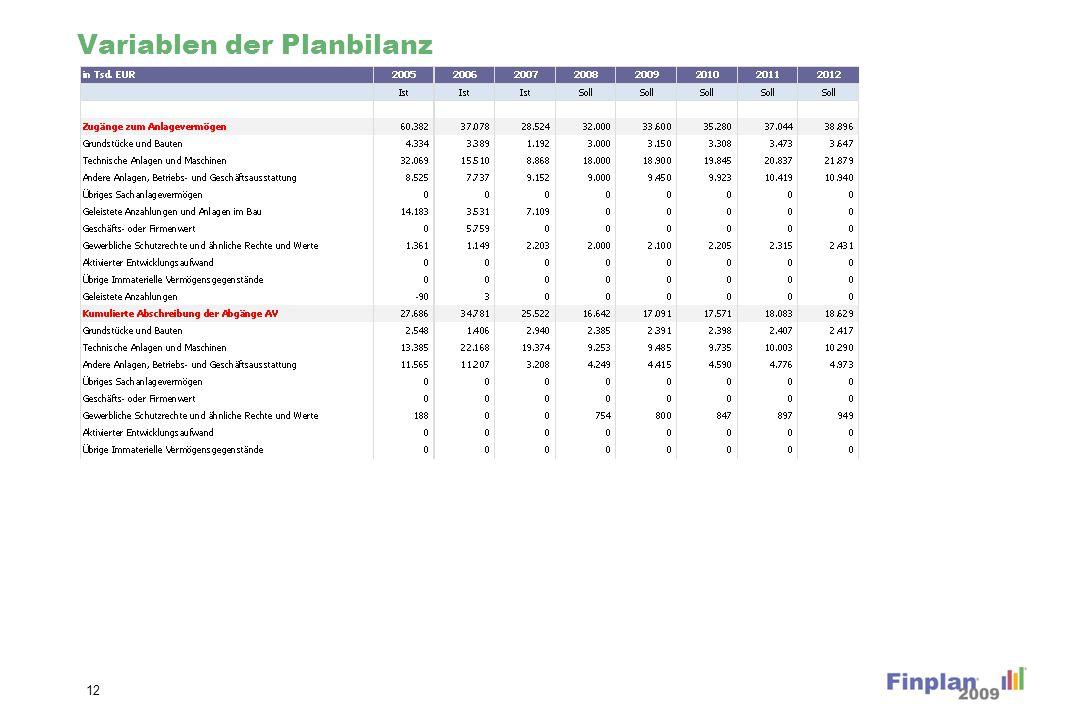 Variablen der Planbilanz 12