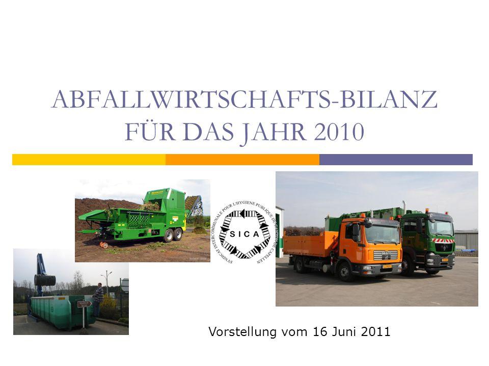 ABFALLWIRTSCHAFTS-BILANZ FÜR DAS JAHR 2010 Vorstellung vom 16 Juni 2011