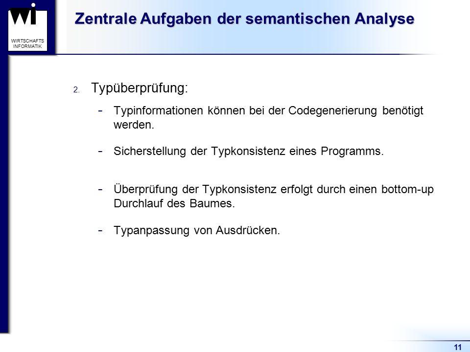11 WIRTSCHAFTS INFORMATIK Zentrale Aufgaben der semantischen Analyse 2. Typüberprüfung: - Typinformationen können bei der Codegenerierung benötigt wer