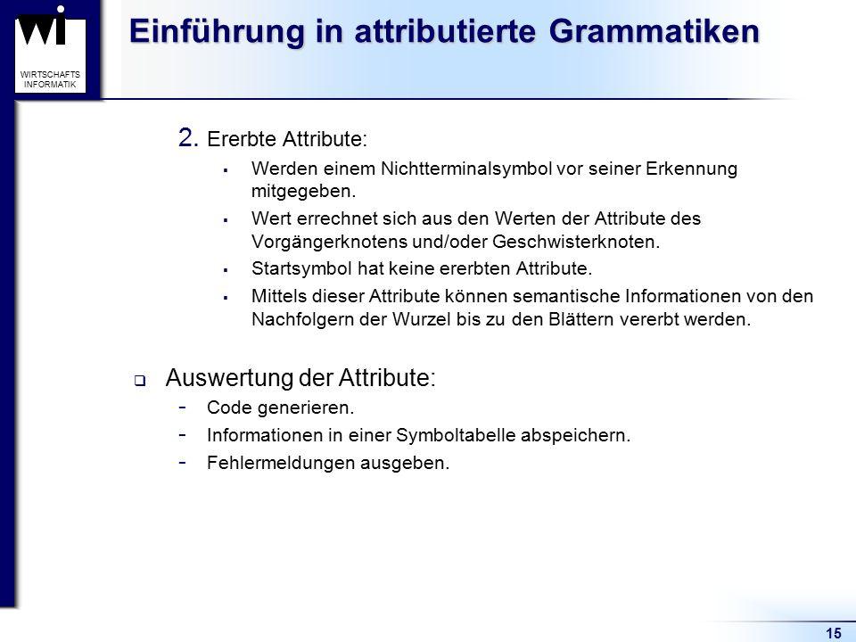 15 WIRTSCHAFTS INFORMATIK Einführung in attributierte Grammatiken 2. Ererbte Attribute:  Werden einem Nichtterminalsymbol vor seiner Erkennung mitgeg
