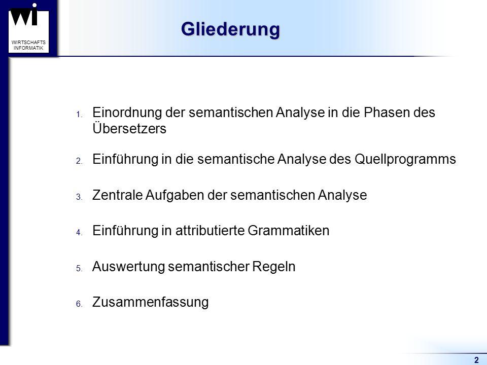 2 WIRTSCHAFTS INFORMATIK 1. Einordnung der semantischen Analyse in die Phasen des Übersetzers 2. Einführung in die semantische Analyse des Quellprogra
