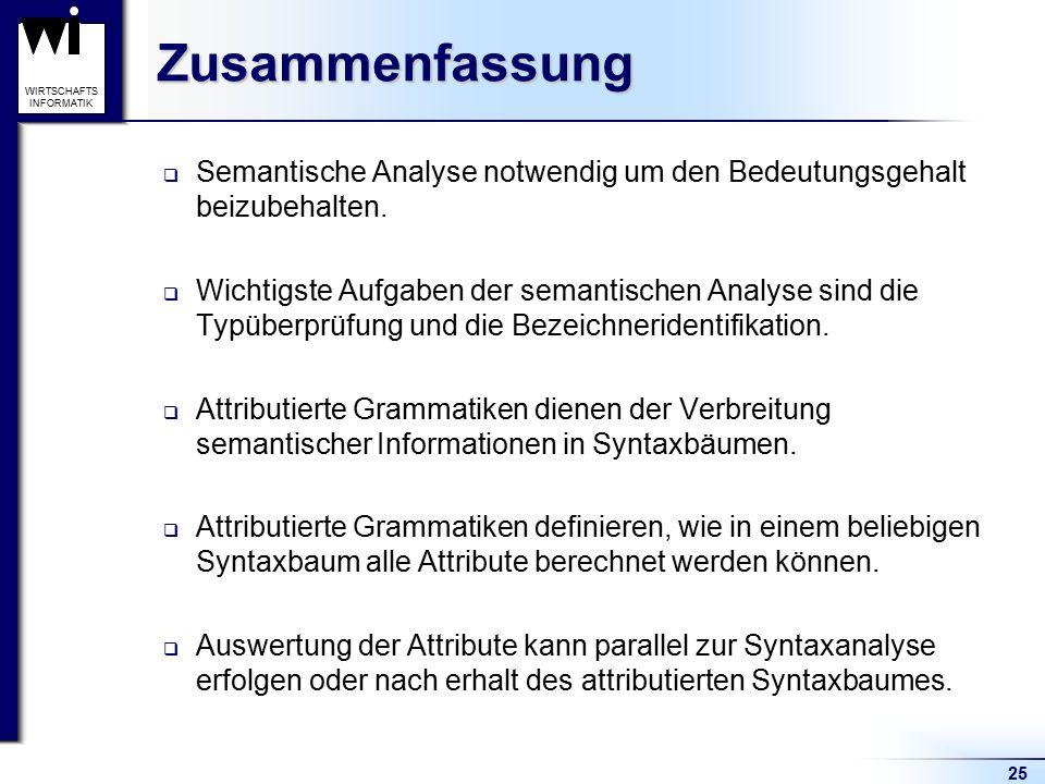 25 WIRTSCHAFTS INFORMATIKZusammenfassung  Semantische Analyse notwendig um den Bedeutungsgehalt beizubehalten.  Wichtigste Aufgaben der semantischen