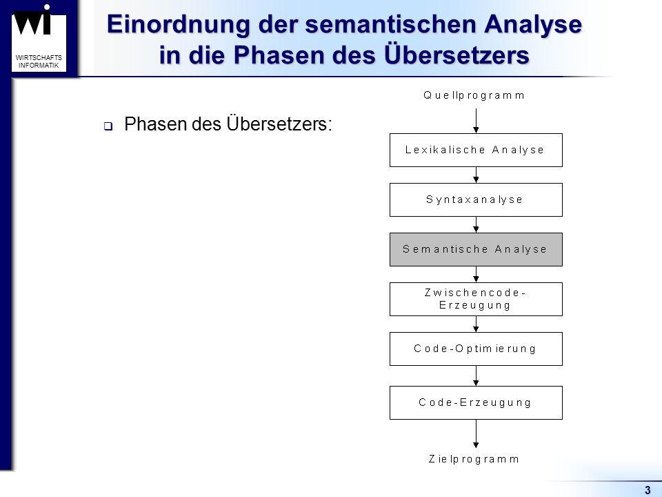3 WIRTSCHAFTS INFORMATIK Einordnung der semantischen Analyse in die Phasen des Übersetzers  Phasen des Übersetzers: