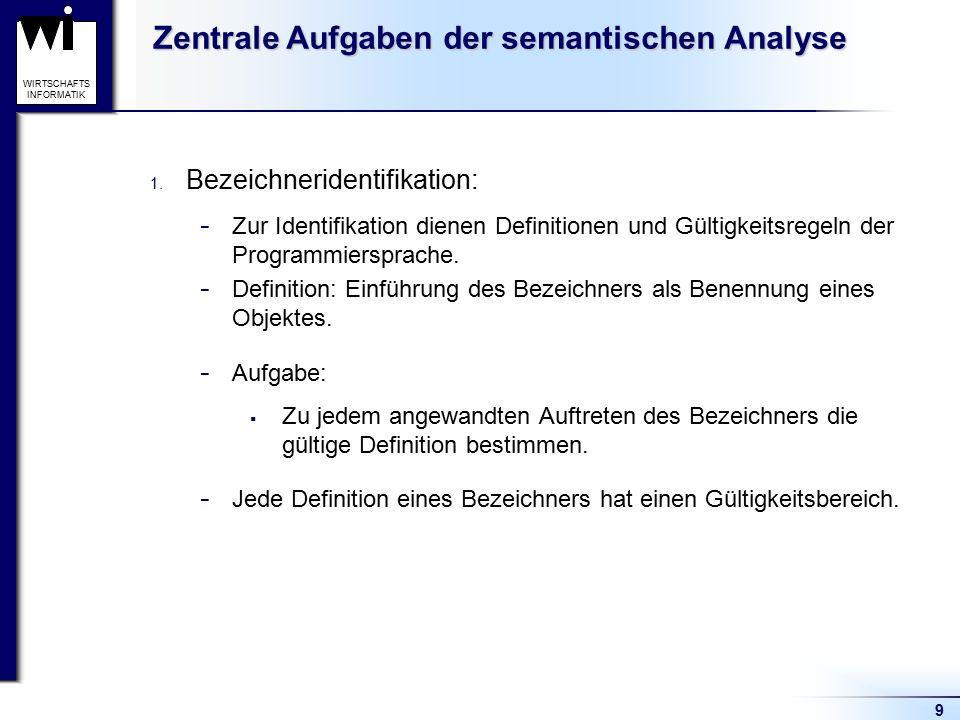 9 WIRTSCHAFTS INFORMATIK Zentrale Aufgaben der semantischen Analyse 1. Bezeichneridentifikation: - Zur Identifikation dienen Definitionen und Gültigke