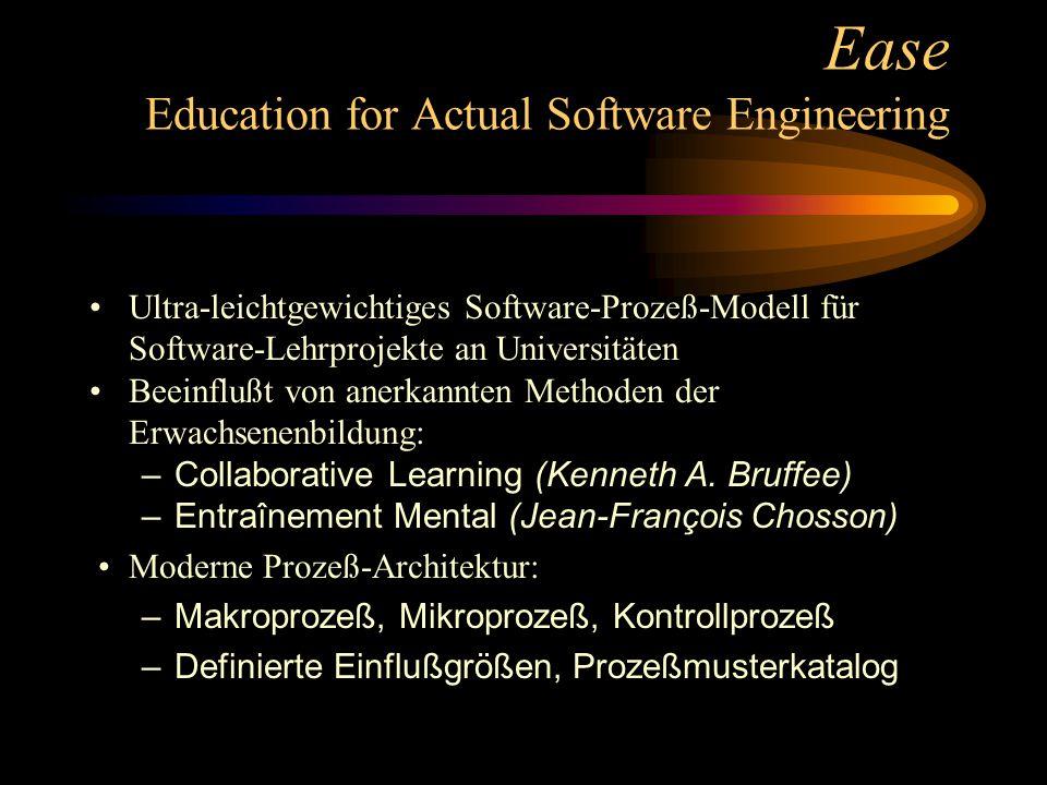 Ease Education for Actual Software Engineering Ultra-leichtgewichtiges Software-Prozeß-Modell für Software-Lehrprojekte an Universitäten Beeinflußt von anerkannten Methoden der Erwachsenenbildung: –Collaborative Learning (Kenneth A.