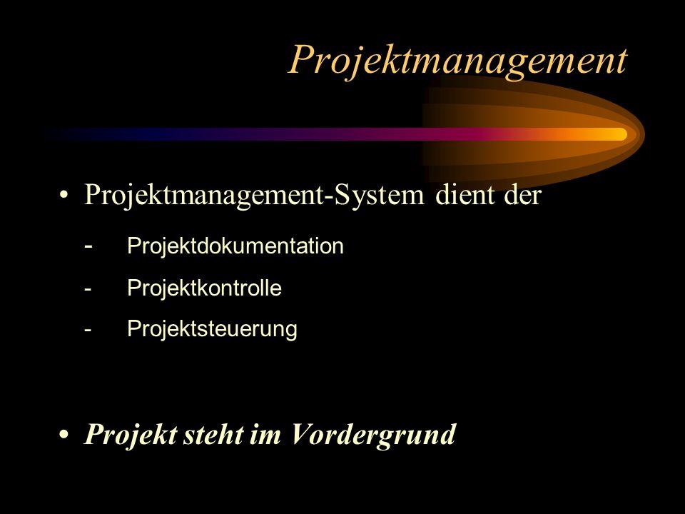 Projektmanagement Projektmanagement-System dient der - Projektdokumentation -Projektkontrolle -Projektsteuerung Projekt steht im Vordergrund