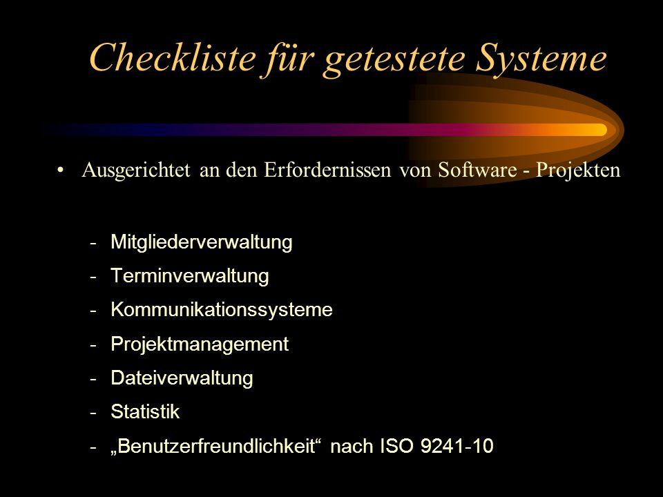 """Checkliste für getestete Systeme Ausgerichtet an den Erfordernissen von Software - Projekten -Mitgliederverwaltung -Terminverwaltung -Kommunikationssysteme -Projektmanagement -Dateiverwaltung -Statistik -""""Benutzerfreundlichkeit nach ISO 9241-10"""