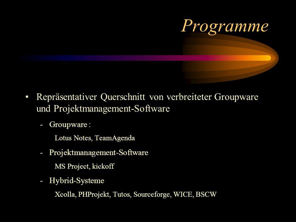 Programme Repräsentativer Querschnitt von verbreiteter Groupware und Projektmanagement-Software -Groupware : Lotus Notes, TeamAgenda -Projektmanagement-Software MS Project, kickoff -Hybrid-Systeme Xcolla, PHProjekt, Tutos, Sourceforge, WICE, BSCW