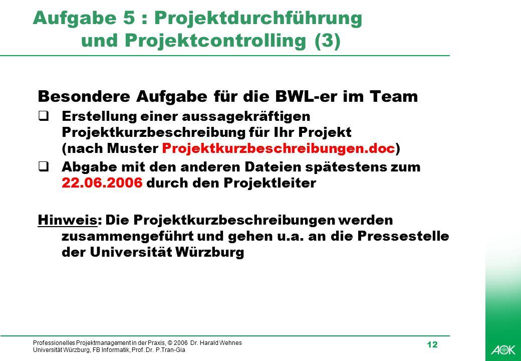 Professionelles Projektmanagement in der Praxis, © 2006 Dr. Harald Wehnes Universität Würzburg, FB Informatik, Prof. Dr. P.Tran-Gia 12 Aufgabe 5 : Pro