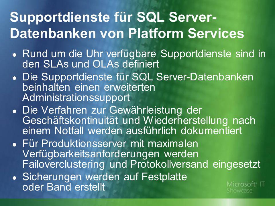 Supportdienste für SQL Server- Datenbanken von Platform Services ● Rund um die Uhr verfügbare Supportdienste sind in den SLAs und OLAs definiert ● Die